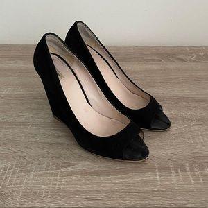 """""""MIU MIU"""" Suede Wedge Open Toe Shoes"""